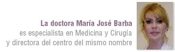 doctora María José Barba, especialista en Medicina y Cirugía