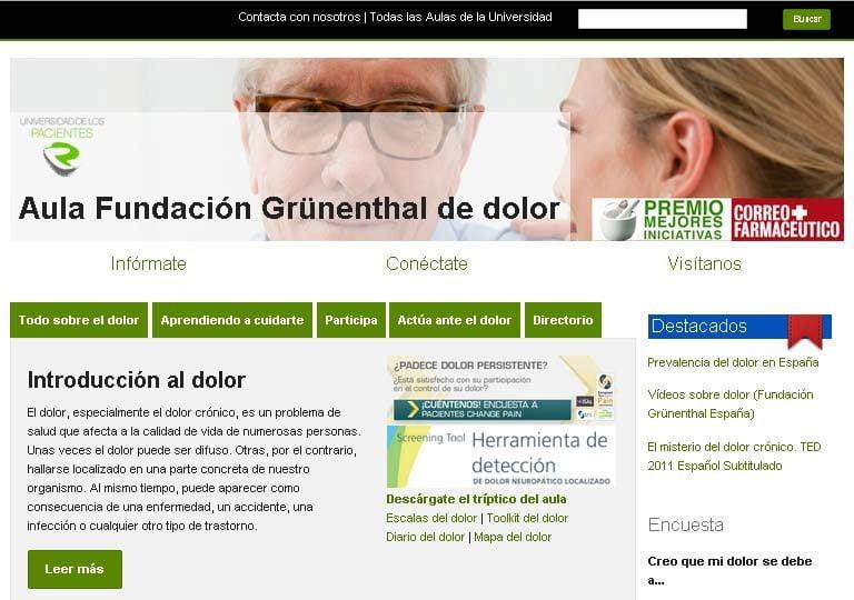 El sitio web 'Aula Fundación Grünenthal de Dolor' renueva contenidos y secciones