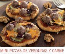 Mini pizzas de verduras y carne con nueces