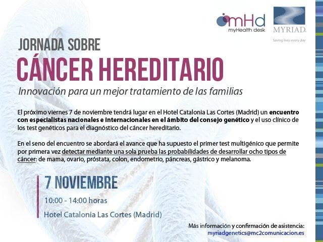Jornada sobre cáncer hereditario organizada por Myriad Genetics