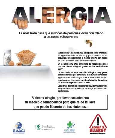 Las farmacias españolas se unen a una campaña europea sobre anafilaxia y alergias alimentarias