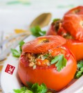 Baked tomatoes stuffed with tuna and vegetables