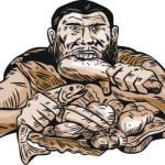 Etching engraving handmade style illustration of a neaderthal man eating a paleo diet consisting of lean meats, chicken, fish, fruits and vegetables viewed from front on isolated white background.