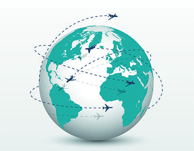 Planes flying around the globe