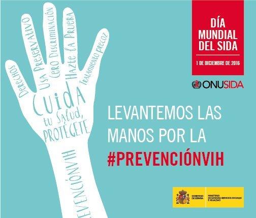 """Sanidad se une al Día Mundial del Sida sumándose a la campaña """"Levantemos las manos por la #PrevenciónVIH"""""""