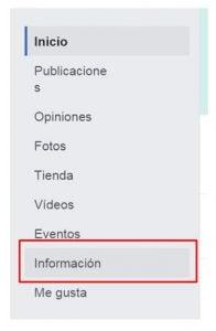 pagina de facebook editar info