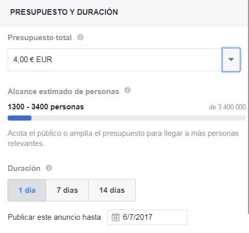 Promocionar publicación de Facebook