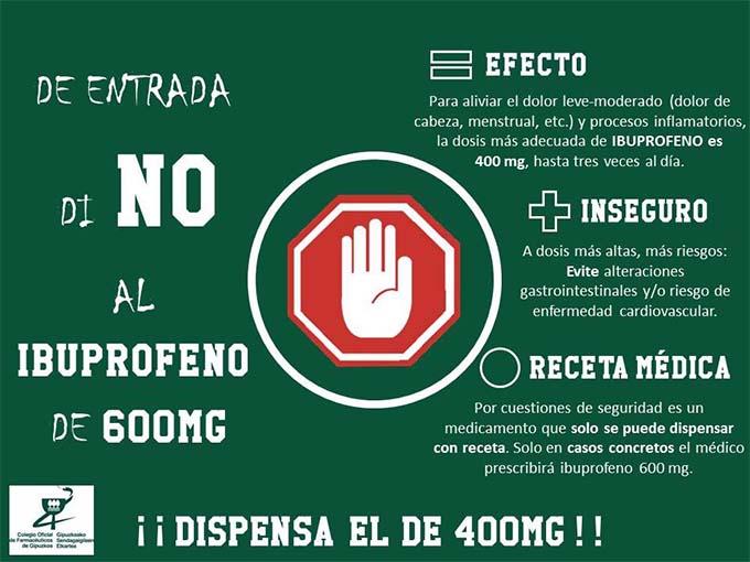 La dispensación de ibuprofeno 600 mg debe hacerse bajo recomendación médica y receta