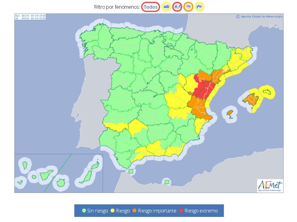 Alerta roja de meteorología por lluvias que pueden ser torrenciales