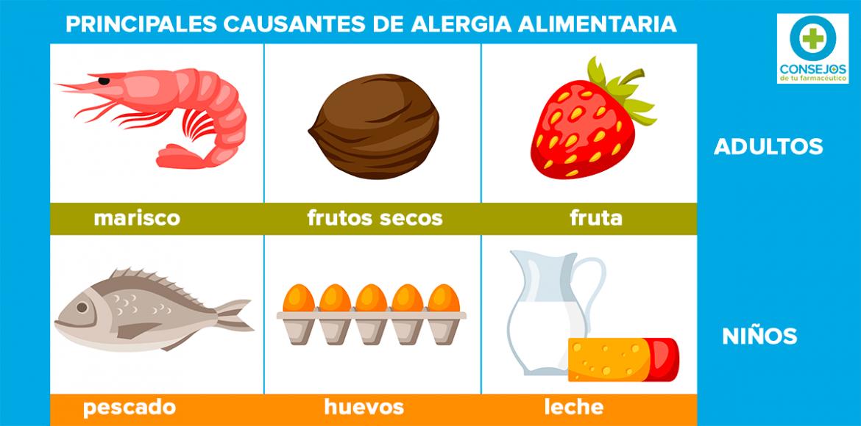 Frutos secos, fruta y marisco, principales causas de alergia alimentaria en adultos