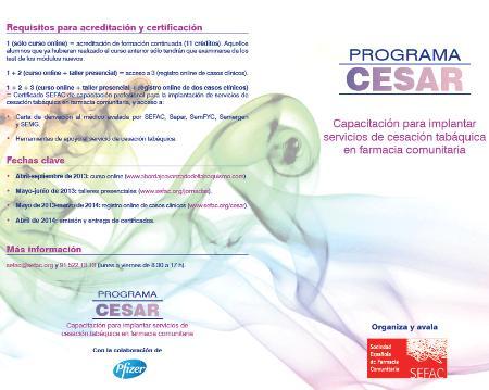 Programa 'CESAR' para implantar servicios de cesación tabáquica en las farmacias comunitarias
