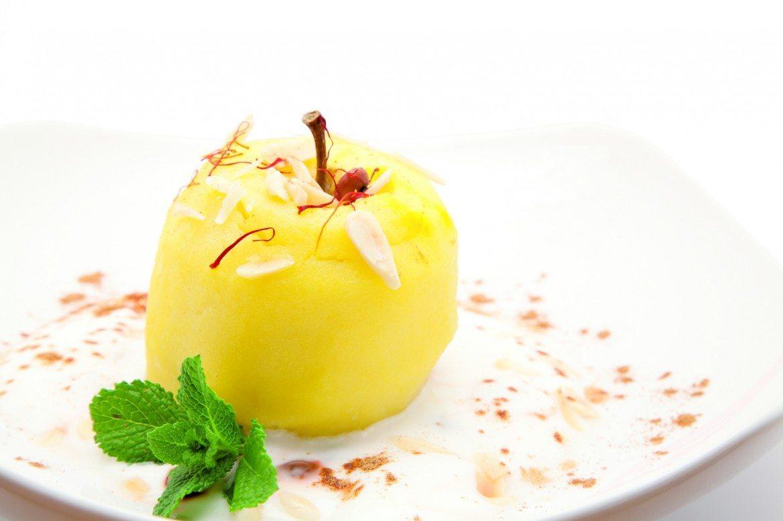 Manzana con yogur y almendra