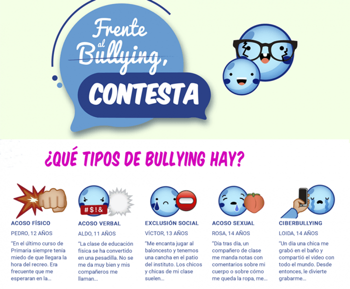 Frente al bullying, ¡contesta!, campaña dirigida a los testigos de acoso escolar