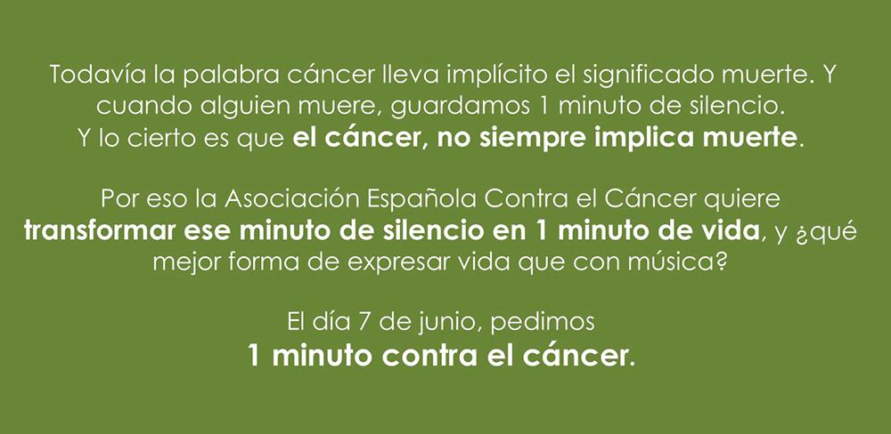 7 de junio, un minuto de apoyo para las personas con cáncer